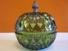Deep Green Glass Vintage Candy dish with lid by LuckySevenVintage, $13.00