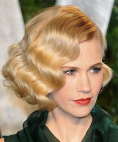 January Jones Short Wavy Golden Brunette Bob Haircut January Jones - Formal Short Wavy Hairstyle - s Retro Hairstyles, Celebrity Hairstyles, Bob Hairstyles, Wedding Hairstyles, Gatsby Hairstyles, Hairstyle Short, Funky Hairstyles For Long Hair, Cute Quick Hairstyles, Short Natural Haircuts