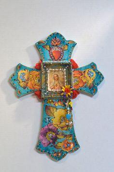 Wooden Crucifix Religious Cross Virgen de by OliviabyDesign Religious Symbols, Religious Cross, Wooden Cross Crafts, Christian Artwork, Shadow Box Art, Cross Art, Christian Symbols, Funky Art, Catholic Art