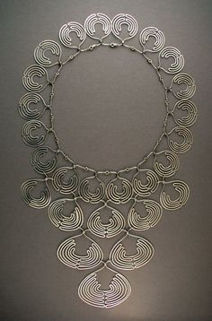 Necklace | Ahlene Welsh. 'Lace Collar 1979'. Sterling silver, Ethiopian coin silver beads