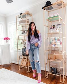 Lynlee Poston from Gal About Town styles her accessories using Frontgate's Camden Etagere.