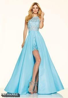 Prom dresses by Paparazzi Prom Beaded French Taffeta Zipper Back Closure. Colors Available: Coral, White, Sky Blue