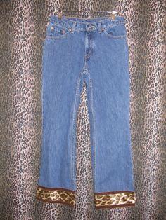 Levi's Strauss Women's 517 Boot Cut Denim Blue Jeans w Leopard Trim Size 7S HOT! #Levis #BootCut