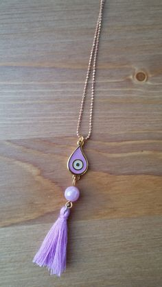 Handmade necklace with chain purple eyes and pompon by toocharmy