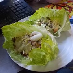 Chicken fajita seasoning onion cheddar sour cream guacamole wrapped in iceberg #lowcarb by jonnyboybinns