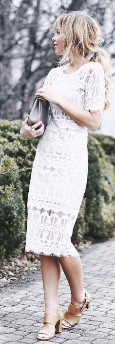 White Body-con Lace Dress by Happily Grey