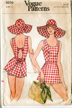 Vogue 9230 dated: 1975 Misses beach pattern, lovely playsuit/ sunsuit with bow tie fastenings at back and matching shorts. Additionally, a pattern for accompanying wide brim beach hat is included.
