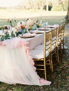 feminine wedding table - photo by Emily Katharine Photography http://ruffledblog.com/watercolor-wedding-at-ever-after-barn #weddingreception #weddingideas