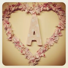 Rag wreath with lettering