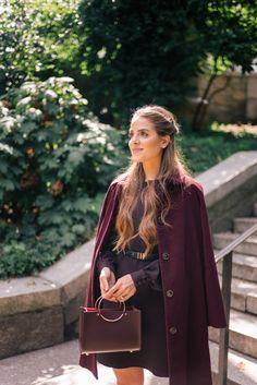 Gal Meets Glam Best Of Burgundy For Fall - A.P.C. coat, A.L.C. dress, Future Glory bag & A.P.C. pumps