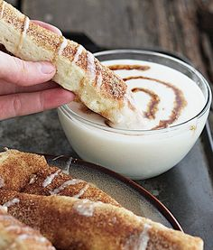 Cinnamon Roll Dippers. An inside-out version of that cinnamon roll deliciousness you love without the fuss! You can dip them right in the glaze so you can get loads of cream cheesy frosting goodness on every single bite!
