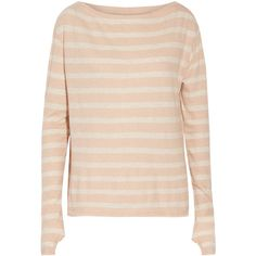 ENZA COSTA Striped cotton and cashmere-blend top ($85) ❤ liked on Polyvore featuring tops, peach, peach top, stripe top, pink striped top, pink top and loose fit tops