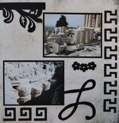 Athens, Greece Travel scrapbook page with the Top Flourish from Cricut's Reminisce
