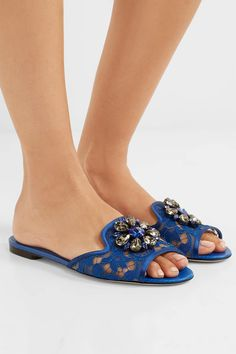 Dolce & Gabbana - Embellished Corded Lace And Lizard-effect Leather Slides - Cobalt blue - IT40