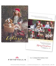 """Christian Christmas Card Photoshop Template. """"Believe"""" by FOTOVELLA. Featured photos © Sandra Bianco Photography."""