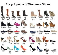 Encyclopedia of Women's Shoes Via More Visual Glossaries (for Her): Backpacks / Bags / Hats / Belt knots / Coats / Collars / Darts / D...