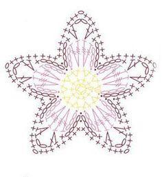 Simple 5 Petal Crochet Flower and diagram.