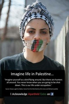 Imagine life in Palestine... 'Imagine yourself as a bird flying around. But there are hunters all around. You never know when you are going to be shot down. This is our life under occupation.'