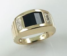 MENS GOLD RING WITH DIAMOND & ONYX * SOLID 10K GOLD #rings