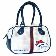NFL Denver Broncos Ethel Bowler, White by Northwest. $15.66. Quality nylon zippers. Sport inspired and perforated pvc fabric. Retro inspired handbag. Durable handles. nylon. Lined interior and printed team logo. Concept One NFL Denver Broncos Ethel Bowler, White. Save 37%!