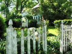 Garden Gate: Fine Art Print by Susan Savad - Image of an open garden gate welcoming you into a beautiful garden. #garden #gate #picketfence #suburbs AS LOW AS $32