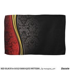 $17.25 Fine Kitchen Towels RED BLACK with Gold. Comes in a baroque pattern. #homedecor #baroque #kitchendecor #kitchentowels #dishtowels #kitchenideas AFFILIATE LINK