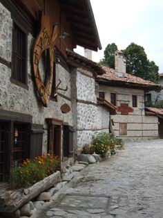 Traditional houses in Bansko, Bulgaria. a jumping off point for hiking biking and skiing