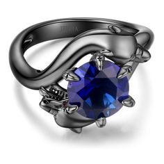 3.0 Ct  Modern Dragon Blue Sapphire Rhodium Plated  Designer Sterling... (720 CZK) ❤ liked on Polyvore featuring jewelry, rings, engagement rings, blue sapphire ring, sterling silver jewellery, rhodium plated sterling silver jewelry and blue sapphire jewelry