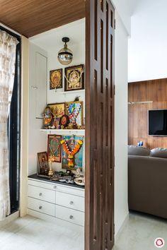 House Plan: Breezy Living & Neutral Colours Define This Home Pooja Room Design, Home Room Design, Temple Design For Home, House Interior, Room Door Design, India Home Decor, Living Room Partition Design, House Interior Decor, Pooja Room Door Design