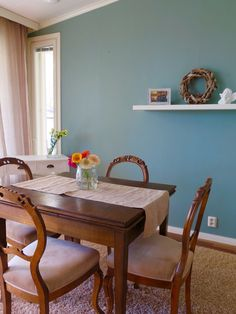 Annie Sloan Wall Paint Duck Egg Blue Duck Egg Blue, Annie Sloan Chalk Paint, Dining Table, Wall, Painting, Furniture, Home Decor, Decoration Home, Blue Green
