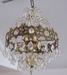 $325 Vintage French Empire Style Fountain or Waterfall Chandelier
