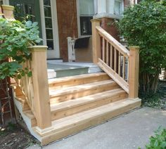 Image result for wood stairs to concrete patio
