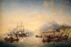 'Erebus' and the 'Terror' in New Zealand, August 1841, by John Wilson Carmichael