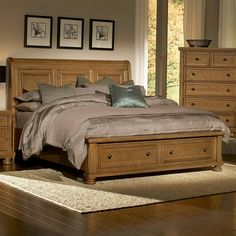 Reflections Queen Storage Bed with Sleigh Headboard by Vaughan Bassett
