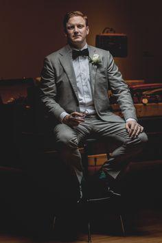 Grey Suit with Black Herringbone Bow Tie: (Winter Wedding, Black Tie Optional)