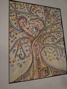 YOGA Tree of LIFE Custom made original watercolor painting scrapbook paper collage Meditation Zen New Age Goddess Spirit Nature