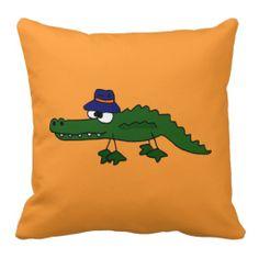 Funny Alligator in Fishing Hat Art Design Throw Pillows #alligators #funny #pillows #gators And www.zazzle.com/tickleyourfunnybone*