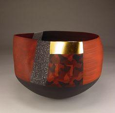 Ceramics, Thomas Hoadley, colored porcelain, gold leaf, 7 x x Ceramic Pinch Pots, Ceramic Clay, Ceramic Bowls, Pottery Bowls, Ceramic Pottery, Pottery Art, Clay Design, Ceramic Design, Modern Ceramics