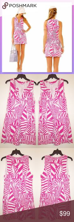 """Lilly Pulitzer Pink Yacht Sea Print Terry Dress A Lilly girl wants to look fabulous all the time.The Estrada is a French terry casual shift in our favorite summer print with a notched neckline and a Lilly logo at the hemline. A vibrant abstract nautical print energizes the style of this easy going French terry dress. Slips on over head. Lilly Pulitzer metal logo tree sewn on at the hem.  * Only worn once.  96% cotton, 4% spandex  Washable  Measurements  XL: About 43"""" Bust, 40"""" Waist, 48""""…"""