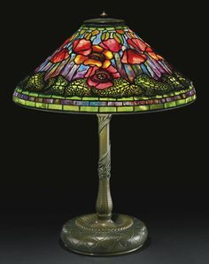 """** Tiffany Studios, New York, Favrile Leaded Glass and Patinated Bronze """"Poppy"""" Lamp."""