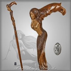 CRYING MERMAID CANE walking stick wooden handle by GCArtis on Etsy, $145.00