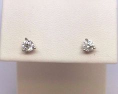 14K White Gold .40 TCW Diamond Stud Earrings SI1 Clarity G Color