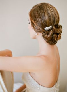 Gorgeous bridal updo with elegant comb by Percy Handmade   Photographed by Jemma Keech