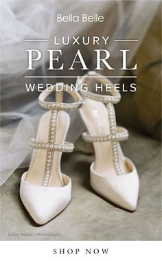 Modern brides love Bella Belle Carolina pearl wedding heels with luxurious pearls and silver crystals beads. Perfect to wear with your satin wedding dress.