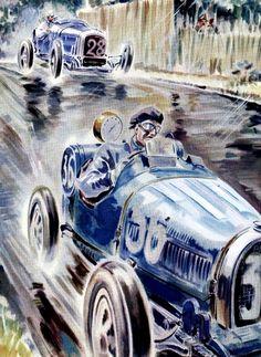 Vintage Bugatti Race Car Poster | Geo Ham