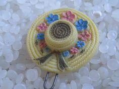 vintage barrette yellow hat  by rosebudcottage on Etsy, $8.00