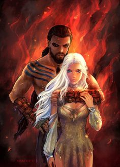 Khalessi and Drogo Game of Thrones brings together all elements of History in an easy to understand and entertaining format. Most of what you see on the program at some point occured in the History Books, blood and gore included. Arte Game Of Thrones, Game Of Thrones Artwork, Game Of Thrones Funny, Game Of Thrones Characters, Daenerys And Khal Drogo, Game Of Throne Daenerys, Khaleesi, Daenerys Targaryen Art, Game Of Trone