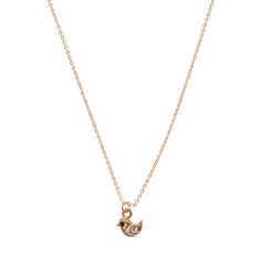 <P>A cute and dainty piece. This gold necklace features a tiny gold bird pendant with silver heart shaped wings and a black eye. </P><UL><LI>Gold-tone finish <LI>Bird pendant <LI>Lobster clasp fastening </LI></UL>