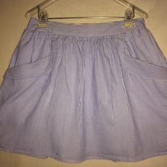 GAP BLUE & WHITE SKIRT Fun! Cute! Fully lined!  Large front pockets! GAP Skirts Mini