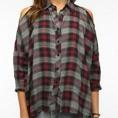 UNIF, Plaid cold shoulder button down, M Great lightly worn condition, sold out. UNIF Tops Button Down Shirts